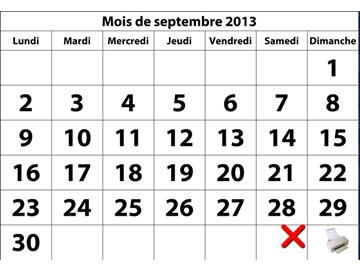 Impression de calendriers mensuels